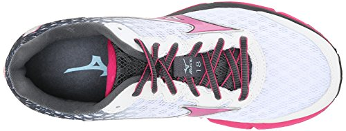 Mizuno Women's Wave Rider 18 Running Shoe, 12 B(M) US - White/Fuchsia Purple