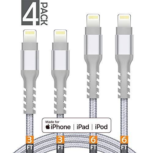 AHGEIIY MFi Certified Charger Cable Nylon Braided 4 Pack [3FT 3FT 6FT 6FT] iPhone Lightning Cable Cord Compatible iPhone X,8 Plus,8,7 Plus,7,6 Plus,6,6S Plus,6s,5,iPad and More(Silver)