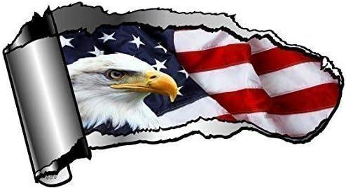 Grande Ouverture d/écoup/é Design Torn coupure Effet m/étal Voiture Sticker pour r/év/éler Aigle am/éricain et nous drapeau USA x 195x 105mm