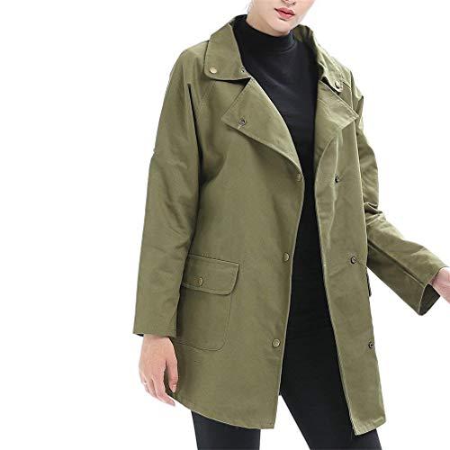 Relaxed Autunno Fashion Giacche Lunga Vintage Transizione Donna Casual Elegante Grün Maniche Military Bavero Primaverile Lunghe Di Leggero Giubotto Giorno Outerwear wRwn76Ax