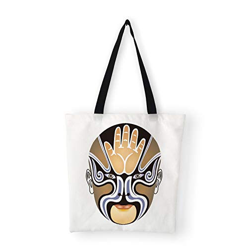 Chinese Traditional Face Magic Print Canvas Bags for Women Men Casual School Shoulder Bags Large Capacity,A7]()