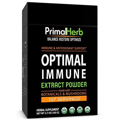 Immune & Wellness Support Formula | by Primal Herb | Super Antioxidant | Medicinal Mushrooms & Herbal Extract Powder - 96 Servings - Includes Bamboo Spoon