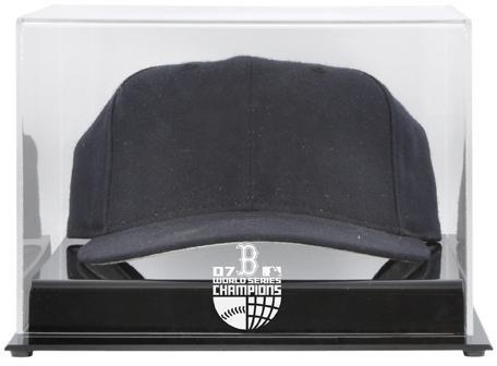2007 World Series Logo Case - Mounted Memories Boston Red Sox Acrylic Cap 2007 World Series Champion Display Case