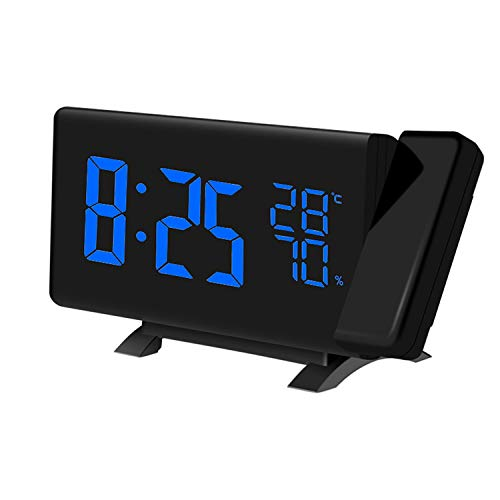 (Alarm Clocks,(New Version) Projection Alarm Clock with FM Radio Multifunction LED Curved-Screen Projection FM Radio Digital Alarm Clock with Dual USB Port for Home Office Bedroom Living Room)
