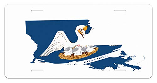 Lunarable Louisiana License Plate, Pelican State Flag Map Union Justice Confidence, High Gloss Aluminum Novelty Plate, 5.88 L X 11.88 W Inches, Cobalt Blue White Pale Coffee Earth Yellow