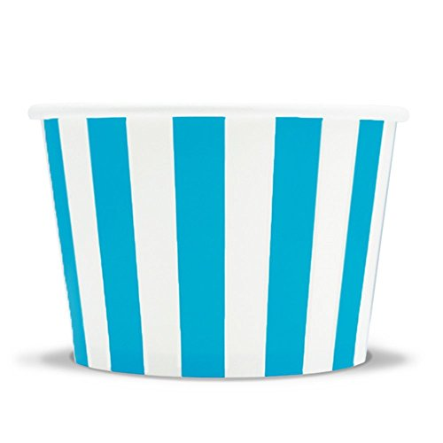 Blue Easter Paper Ice Cream Cups - 8 oz Striped Madness Dessert Bowls Perfect For Yummy Treats - Many Sizes to Make Your Party Amazing! Fast Shipping! Frozen Dessert Supplies - 1,000 Count ()