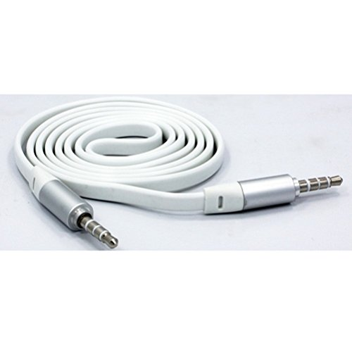 White Flat Aux Cable Car Stereo Wire Audio Speaker Cord 3.5m