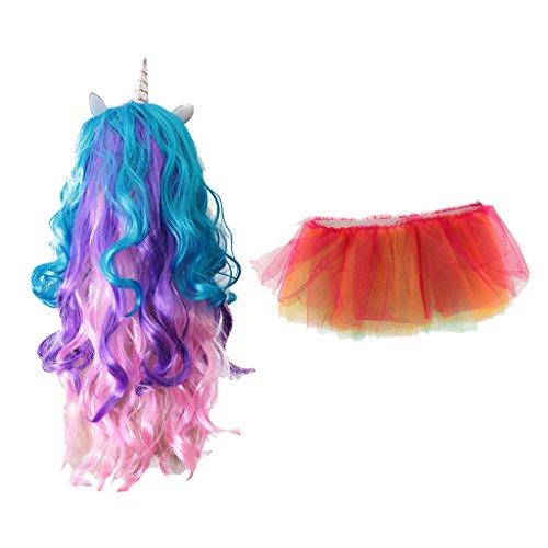 MonkeyJack Magical Unicorn Horn Long Curly Wig + Rainbow LED Light Up Tutu Skirt Cosplay (Glow In The Dark 15 Dresses)