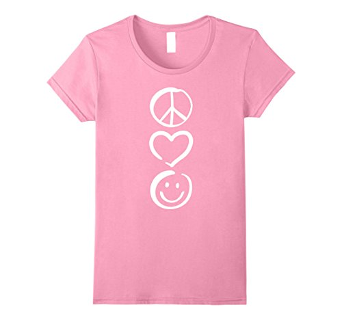 Pink Peace Heart (Womens Peace Love and Happiness T-Shirt Peace Sign, Heart, Smile XL Pink)