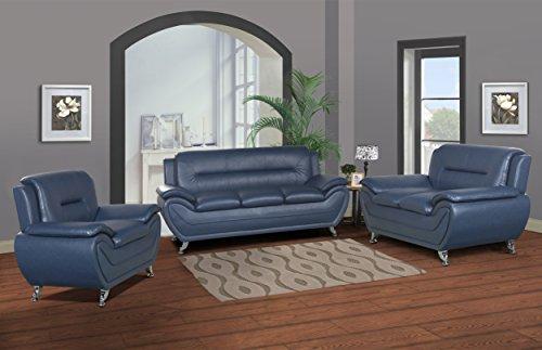 U.S. Livings Anya Modern Living Room Polyurethane Leather Sofa Set (Sofa,  Loveseat, And Chair, Blue)