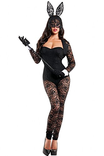 Disney Halloween Skeleton Dance (LOBiI78lu Women's 4pcs Long Sleeves Lace Bunny Costume)