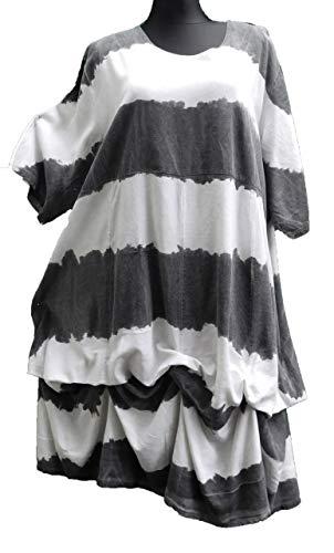 Streifen Übergröße Viskose Lagenlook Gr 52 weit A Weiss Kleid grau Stil 50 48 w86n4Xxxq
