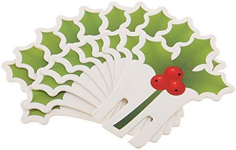 クリスマス テーブル デコレーション ペーパー製 チェリーデザイン ガラス エッジ 挿入カード 10枚入り