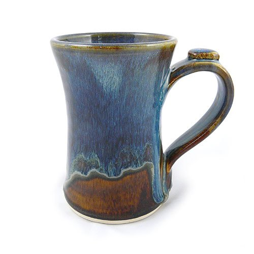 Stoneware 12-oz Coffee Mug, Handmade Pottery, Earthy Blue Color