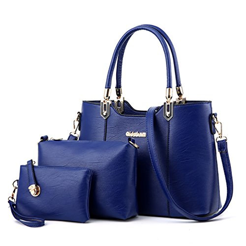 XMLZG Women's Pu Leather Top Handle Shoulder Handbag Purse Crossbody Tote Bag Set Royal Blue ()