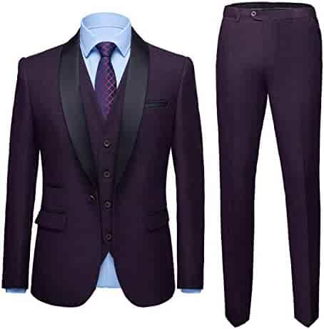 7a0d1f1294 MY'S Men's 3 Pieces Suit Elegant Solid One Button Shawl Lapel Slim Fit  Single Breasted Party