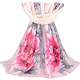 lightclub Fashion Women Peony Blossom Print Long Shade Soft Wrap Shawl Chiffon Scarf Gift Chiffon Spring Summer Autumn Fall Long Big Large Scarfs for Travel Beach Light Pink