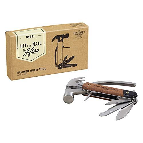 Gentlemen's Hardware 7-in-1 Hammer Multi-Tool with Wood Handles & Titanium Coated Stainless Steel Tools