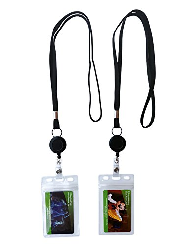 Resistant Water Holder (2-Pack Lanyard with ID Holder, Retractable Badge Reel, Water Resistant Badge Holder.)