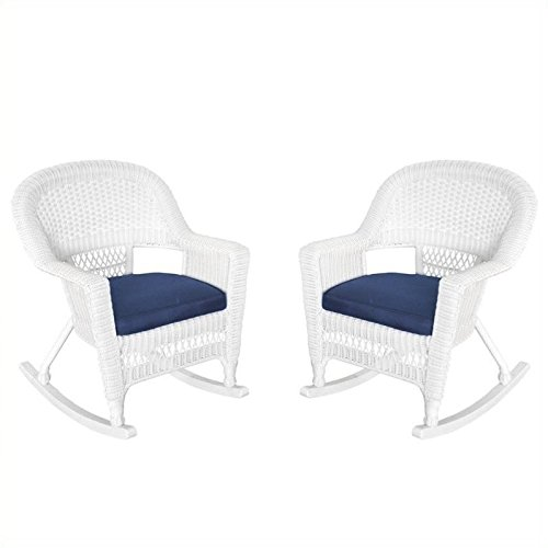 Jeco W00206R-B_2-FS011 Rocker Wicker Chair with Blue Cushion, Set of 2, White