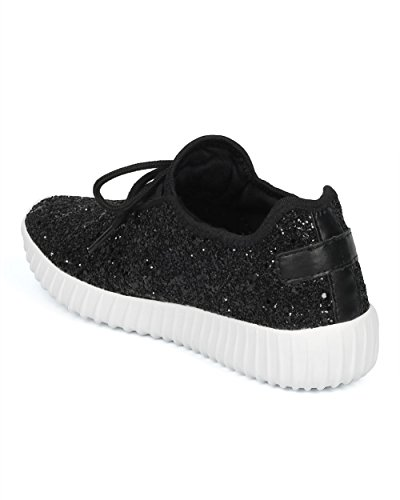 Sneaker Jogger Glitter Donna Alrisco - Allacciatura Jogging Encrusted - Allenamento Out Work Out Gym Shoes - Hd81 By Liliana Collection Black Mix Media