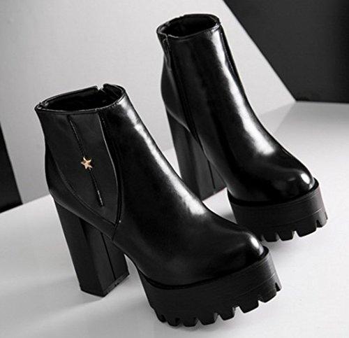 Métal Talon Confortable Aisun Plateforme Bloc Martin Noir Femme Bottes pICw4qn6x