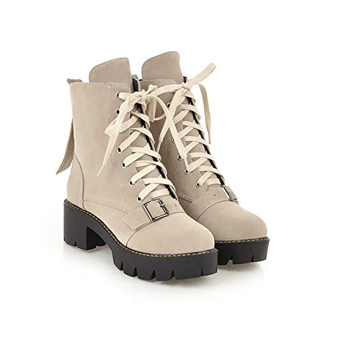 Non Head Heel Martin Beige Women's Ankle Boots Combat Round Boots up Booties Square Slip Lace Wedges 0UXqP