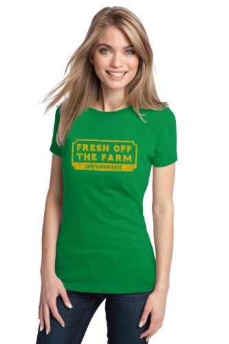 FRESH OFF THE FARM, 100% ORGANIC Ladies' T-shirt / Funny Farming 4H Humor