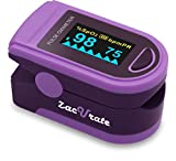 Zacurate Pro Series 500D Deluxe Fingertip Pulse Oximeter Blood Oxygen Saturation Monitor with Silicon Cover, Batteries & Lanyard (Sapphire Purple)
