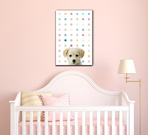 Peekaboo Animals Cute Dog on Color Dots Background