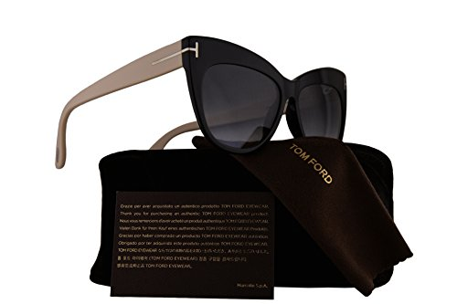 Tom Ford FT0523 Nika Sunglasses Shiny Black w/Grey Gradient Lens 01B TF523 FT523 FT 523 TF - Jennifer Aniston Sunglasses