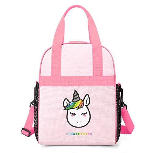 mommore Portable Unicorn Lunch Bag for Kids Insulated Lunch Tote Bag, Pink