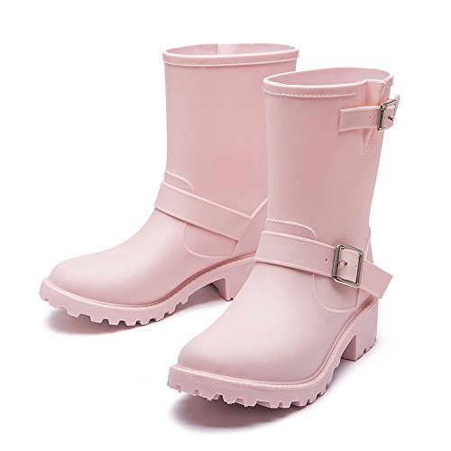 Shoes Non Cavave Fashion Rain Pink Color Women's Slip Low Shoes Heeled Solid and Rain wxCTRCqX0