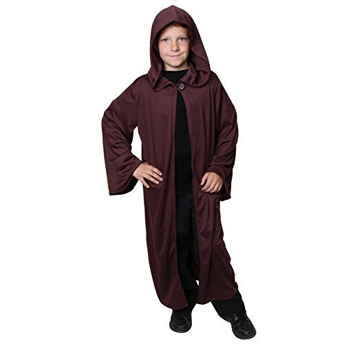 Brown Hooded Robe (Storybook Wishes Kids Unisex Brown Knit Hooded Knight Cloak)