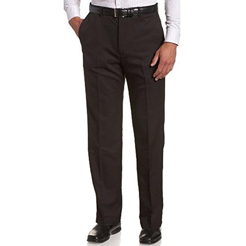 Haggar Men Cool 18 Gab Plain Front Pants 44W x 34L Black