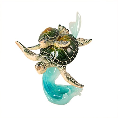 (WonderMolly Marine Life Swimming Mother and Baby Sea Turtles on Blue Waves Figurine)