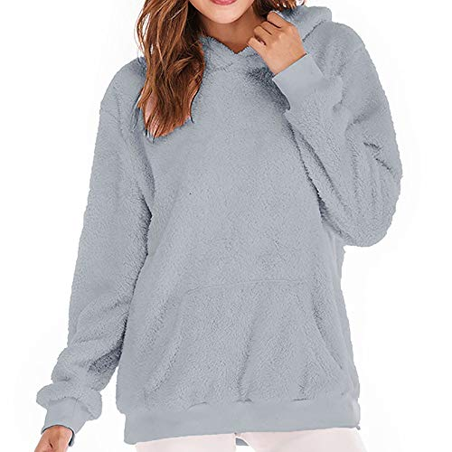 DEATU Womens Hooded Sweatshirt Ladies Cute Winter Warm Sweatshirt Coat Outwear with Pockets(Gray ,XXXL) -