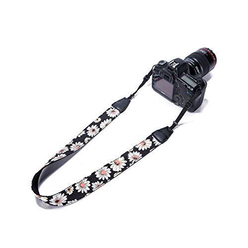 Vallcent Black Chrysanthemum Floral Pattern Camera Strap, Camera Neck Shoulder Strap for Nikon Canon Sony Pentax etc All DSLR Camera