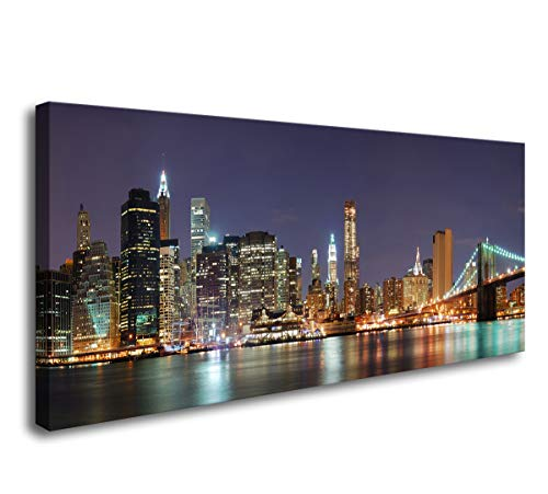 - Baisuwallart-Brooklyn Bridge New York City Night Prints Canvas Wall Art 1 Piece Paintings Pictures Artwork Ready to Hang for Home Decoration Office Wall DÃcor