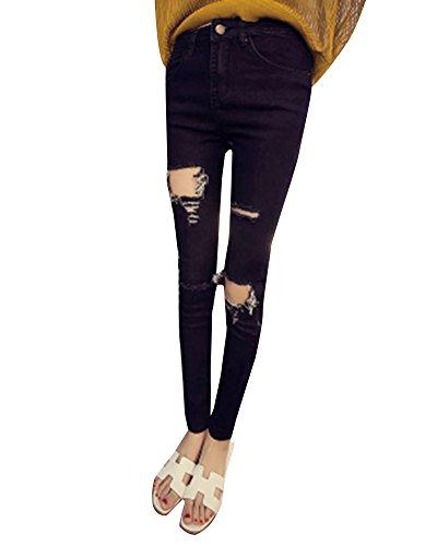 Jeans Fit 4 Donna Alta Slim Pantaloni Vita Elasticizzati Ginocchia Strappati Stretti Nero dPPHx