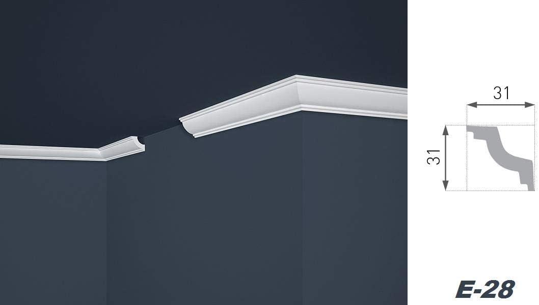 Styroporleisten Sparen E-40 leicht stabil Stuckprofil Stuckleiste Zierleiste modern wei/ß dekorativ 45 x 45 mm 200 Meter