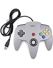 Classic N64 USB Controller,iNNEXT Retro Controller for 64 N64 Bit USB Wired Gamepad Joystick Game Controller for Windows PC Mac Raspberry Pi 3,Gris
