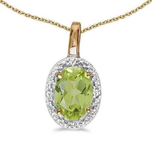 FB Jewels Solid 14k Yellow Gold Genuine Birthstone Oval Peridot And Diamond Pendant (2/5 Cttw.)