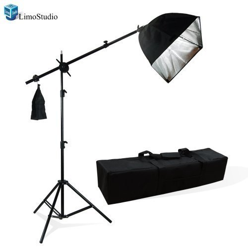 LimoStudio Photography Photo Studio Lighting Kit Softbox Lighting with Photo Bulb Socket & Boom Arm Stand Hair Light Kit, Light Stand Tripod, Photo Studio, AGG1301 (Light Stand Softbox)