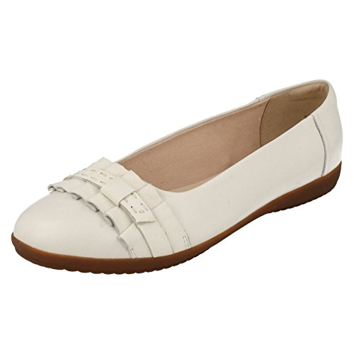 Clarks Trabajo Mujer Zapatos Feya Island En Piel Blanco