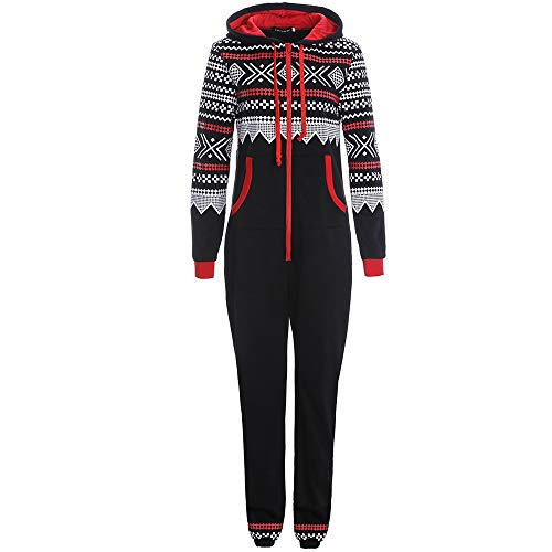 NREALY Jumpsuit Women's Xmas Autumn Winter Casual Hoodie Print Christmas Zipper Print Jumpsuit ()