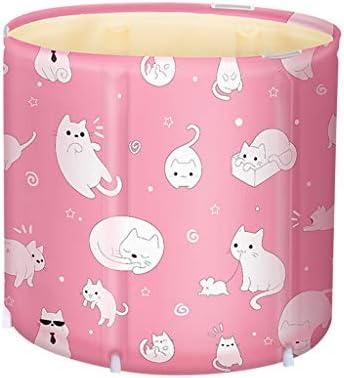 YILANJUN ポータブル浴槽折りたたみバレル、浴槽、大人用、ピンク、浴槽カバー付き