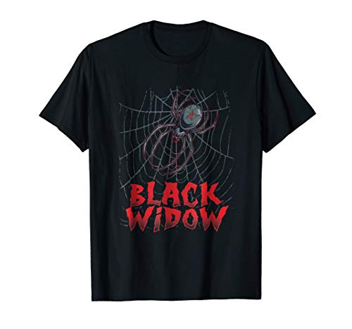 Mens Black Widow Spider Scary Creepy Halloween Costume T-Shirt XL Black