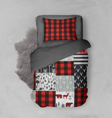 - Toddler Bedding Red, Black, and Gray Woodland Adventure with Gray Sheet Set- 5 Piece Toddler Big Boy Bedding - Handmade in America