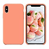 SURPHY Silicone Case for iPhone Xs iPhone X Case, Soft Liquid Silicone Slim Rubber Protective Phone Case Cover (with Soft Microfiber Lining) Compatible with iPhone X iPhone Xs 5.8' (Peach)